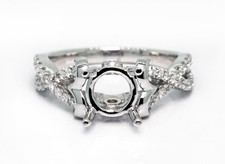 14K White Gold - Diamond Accented Twisted Shank Style Diamond Engagement Ring Setting (0.30ct)
