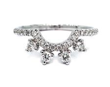 14K White Gold - Starbust Style Diamond Ring Wrap (0.30ct)