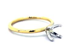 14K Yellow Gold - EWJ Signature Simple Solitaire Petite Engagement Ring Setting