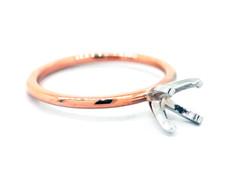 14K Rose Gold - EWJ Signature Simple Solitaire Petite Engagement Ring Setting