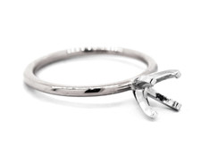 14K White Gold - EWJ Signature Simple Solitaire Petite Engagement Ring Setting