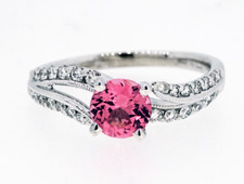 14K White Gold -  0.73ct - Pink Spinel Bypass Style Diamond Fashion Ring