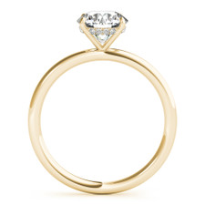 14K Yellow Gold - Hidden Halo Diamond Accented Head Diamond Solitaire Engagement Ring Setting