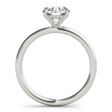 14K White Gold - Hidden Halo Diamond Accented Head Diamond Solitaire Engagement Ring Setting