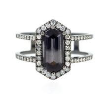 18K Black Rhodium Gold - Hexagon Grey Spinel & Diamond Split Shank Fashion Ring (1.16ct/0.25ct)