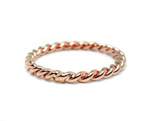 """14K ROSE GOLD - HAND MADE """"PERFECT BRAID"""" STACKABLE BAND"""