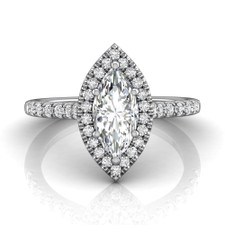 14K White Gold - 0.71ct  Marquise Cut Diamond Halo Engagement Ring (0.40ct)