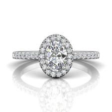 14K White Gold - 0.70ct  Oval Cut Diamond Halo Engagement Ring (0.38ct)
