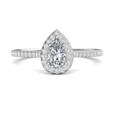 14K White Gold - 0.33ct  Pear Cut Diamond Halo Engagement Ring (0.27ct)