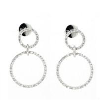 14K White Gold - Simple Double Diamond Halo Dangling Stud Earrings (0.37ct)