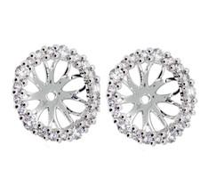 14K White Gold - Round Diamond Halo Earring Enhancing Jackets (0.30ct)