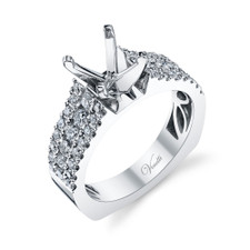14K White Gold - European Shank Diamond Three Row Engagement Ring Setting (1.00ct)
