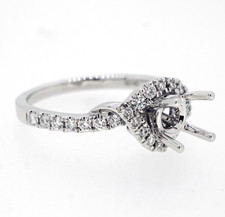14K White Gold - Intertwined Split Shank Style Diamond Engagement Ring Setting (0.36ct)