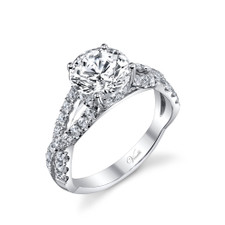 14K White Gold - Twisted Split Shank Style Diamond Engagement Ring Setting (0.69ct)