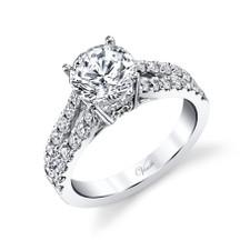 14K White Gold - Hidden Halo Split Shank Style Diamond Engagement Ring Setting (0.81ct)
