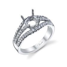 14K White Gold - Multi Row Split Shank Style Diamond Engagement Ring Setting (0.46ct)