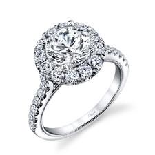 14K White Gold - Round Halo Shared Prong Diamond Engagement Ring Setting ( 1.06ct)