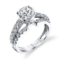 14K White Gold - Multi Row Split Shank Style Diamond Engagement Ring Setting (0.86ct)