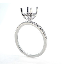 14K White Gold - Petite Hidden Halo Shared Prong Diamond Engagement Ring Setting (0.20ct)