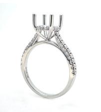 14K White Gold - Round Hidden Halo Shared Prong Diamond Engagement Ring Setting (0.28ct)