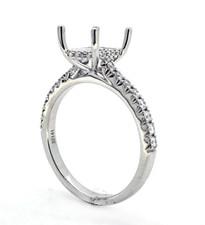 14K White Gold - Rectangle Head Hidden Halo Shared Prong Diamond Engagement Ring Setting (0.32ct)