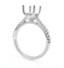 14K White Gold - Oval Hidden Halo Shared Prong Diamond Engagement Ring Setting (0.27ct)