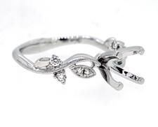 14K White Gold - Floral Vine Diamond Engagement Ring Setting (0.12ct)