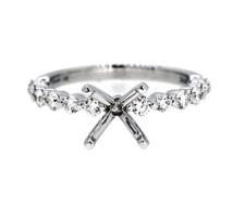 14K White Gold - Simple Single Prong Round Diamond Engagement Ring Setting (0.48ct)