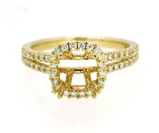 14K Yellow Gold - Under Halo Diamond Accented Cushion Halo Split Shank Engagement Ring Setting (0.55ct)