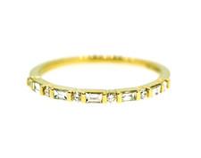 14K Yellow Gold - Petite Round & Baguette Diamond Bar Set Band (RD-0.07/0.10ct)