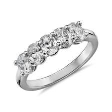 14K White Gold - Oval Cut Diamond 5 Stone Shared Prong Band (0.75ct)