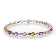 18K White Gold - Fancy Colored Pear Cut Sapphire & Diamond Line Bracelet