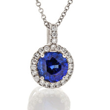 18K White Gold - 2.82ct Premium Round Cut Blue Sapphire & Diamond Halo Pendant & Chain (0.21ct)