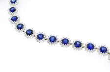 18K White Gold - Round Sapphire & Diamond Halo Fashion Bracelet