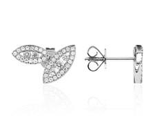 14K White Gold - Double Diamond Leaf Stud Earrings (0.38ct)