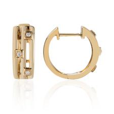 14K Yellow Gold - Round Diamond Stationed Huggy Hoop Earrings