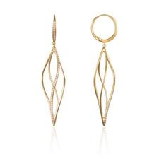 14K Yellow Gold - Braided Style Diamond Dangling Earrings