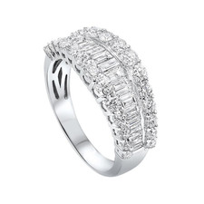 14K White Gold -  1.50ct - Graduated Baguette & Round Cut Diamond Fashion Band