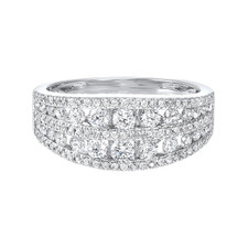14K White Gold - 1.00ct -  Mutli-Row Tapered Diamond Fashion Band