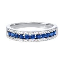 14K White Gold- 0.62ct -  Sapphire & Diamond Three Row Band