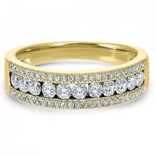 14K YELLOW GOLD - 1.50 CARAT TRIPLE ROW DIAMOND ANNIVERSARY BAND