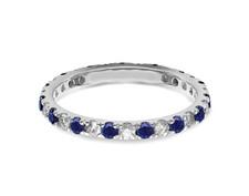14K White Gold -  Round Cut Sapphire & Diamond Alternating Shared Prong Band