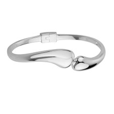 Sterling Silver - Free Form Bypass Style  High Polished Hinged Cuff Bracelet