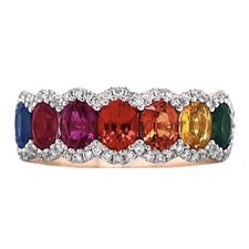 14K Yellow Gold - Oval Rainbow Multi Colored Sapphire & Diamond Fashion Band