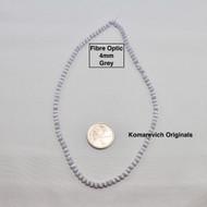 Fibre Optic - Cats Eye Glass - 4mm Round Beads - Grey