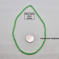 Fibre Optic - Cats Eye Glass - 4mm Round Beads - Green