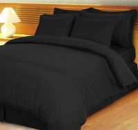 Stripe Black Down Alternative Bed in A Bag Egyptian cotton 600 Thread Count