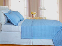 Lite-Blue Checkered Coverlet Set 3PC Egyptian cotton 400 Thread count