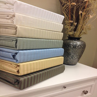 "Combed Cotton Blend 650 Thread Count  Stripe 22"" Deep Pocket King Sheet Set"