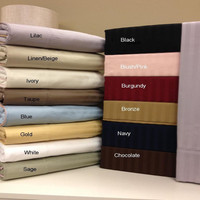 100% Combed Cotton 600 Thread Count Stripe Olympic Queen Sheet Set